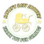 Personalised Lemon Pram Baby Shower Party Stickers